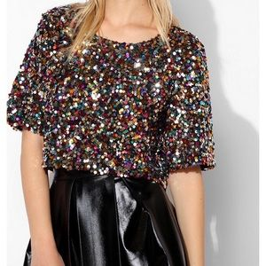 Urban Outfitters sequin crop top tee